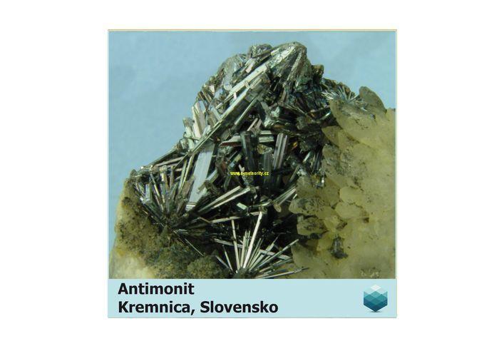 Fotomagnet na ledničku - Antimonit - Kremnica - 75 x 75 mm E-meteority