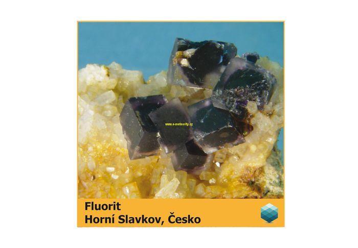 Fotomagnet na ledničku - Fluorit - Horní Slavkov - 75 x 75 mm E-meteority