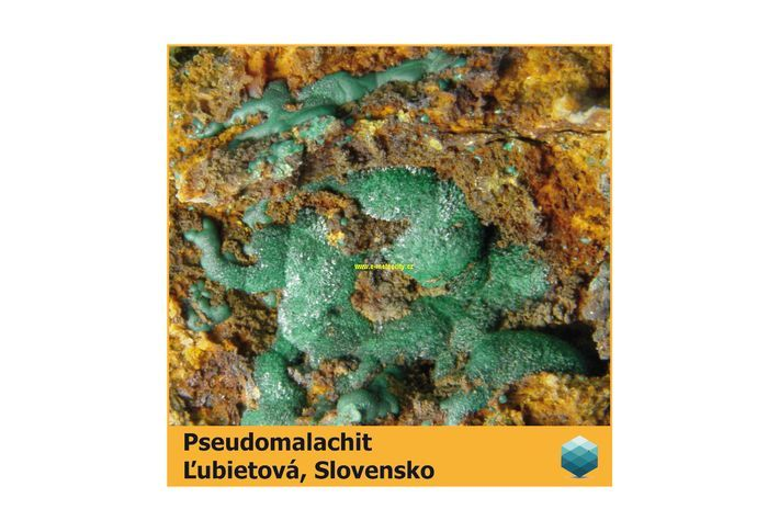 Fotomagnet na ledničku - Pseudomalachit - Ľubietová - 75 x 75 mm E-meteority